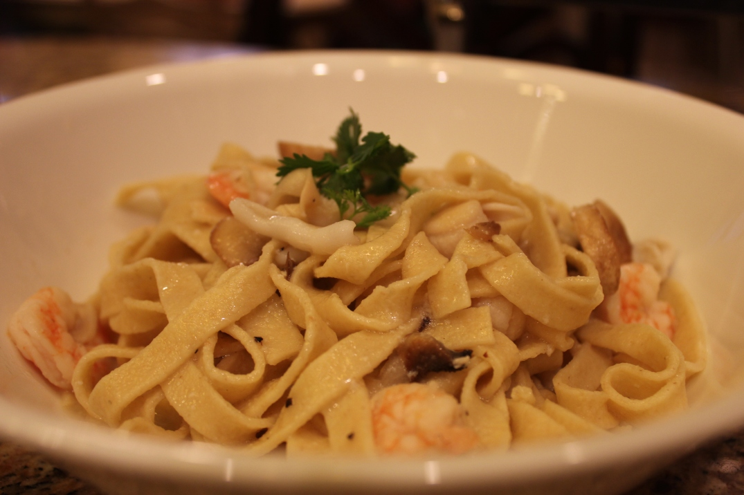 Seafood Fettucini in white wine clam sauce