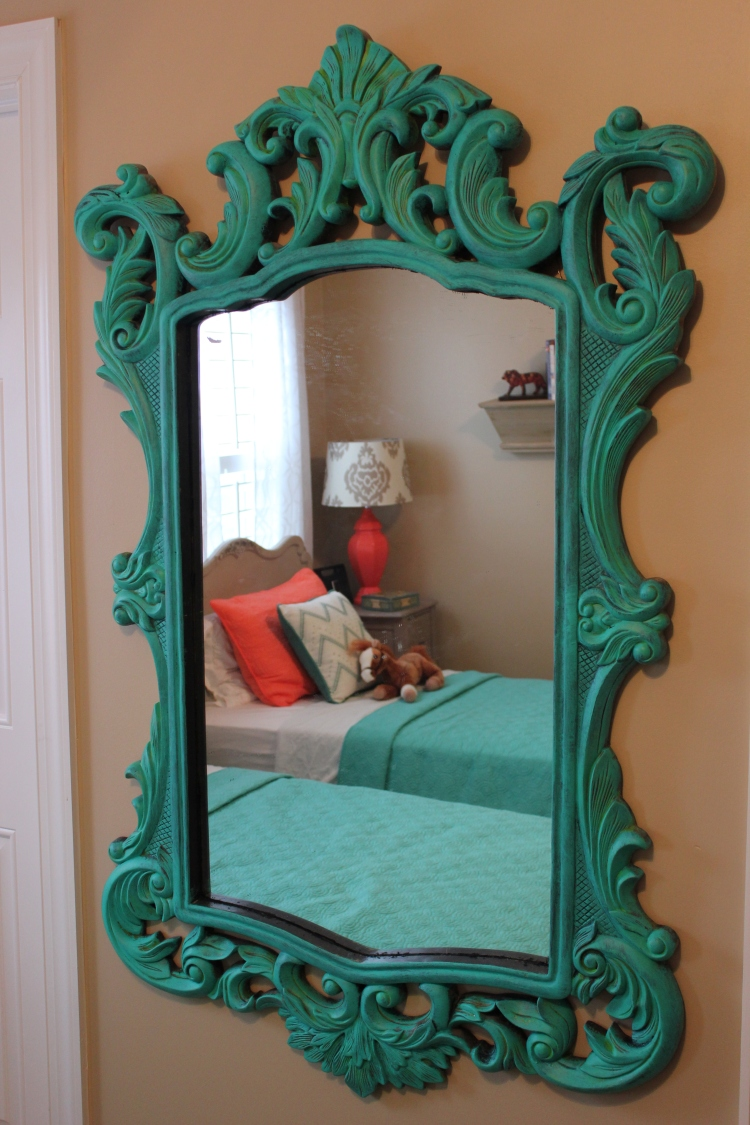 Mirror mirror on the wall...you are the awesomest of them all! This is my very favorite thing in the whole room. I stumbled upon it while antiquing at Gibson Mill. It is an upcycled find for $75!