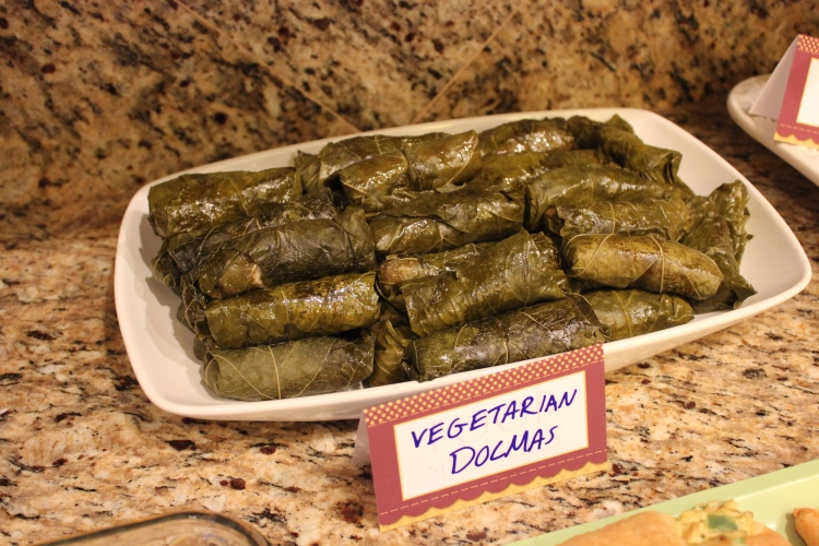 I made these dolmas. It was my first go at them but I have very fold memories of these and various other Lebanese dishes from one of my favorite restaurants in Monterey. These are stuffed with Egyptian rice I found at an Arabic market, pine nuts, golden raisins, tomato paste, dill and lemon wrapped in California brined grape leaves.